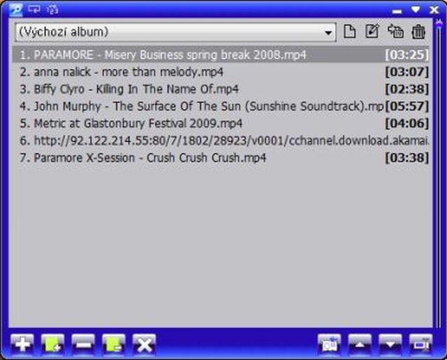 Playlist přehrávače skin Vista live